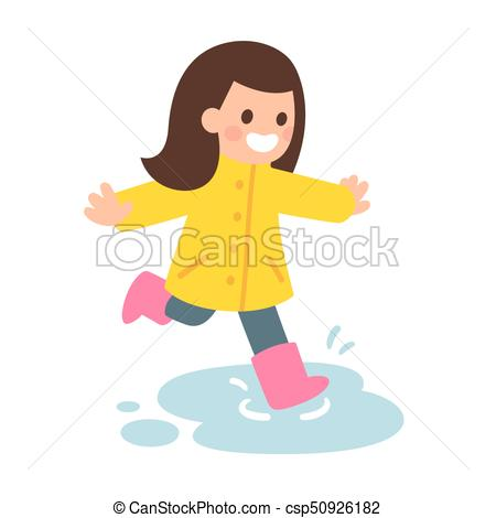 450x470 Girl Playing In Puddle. Cute Cartoon Girl In Raincoat