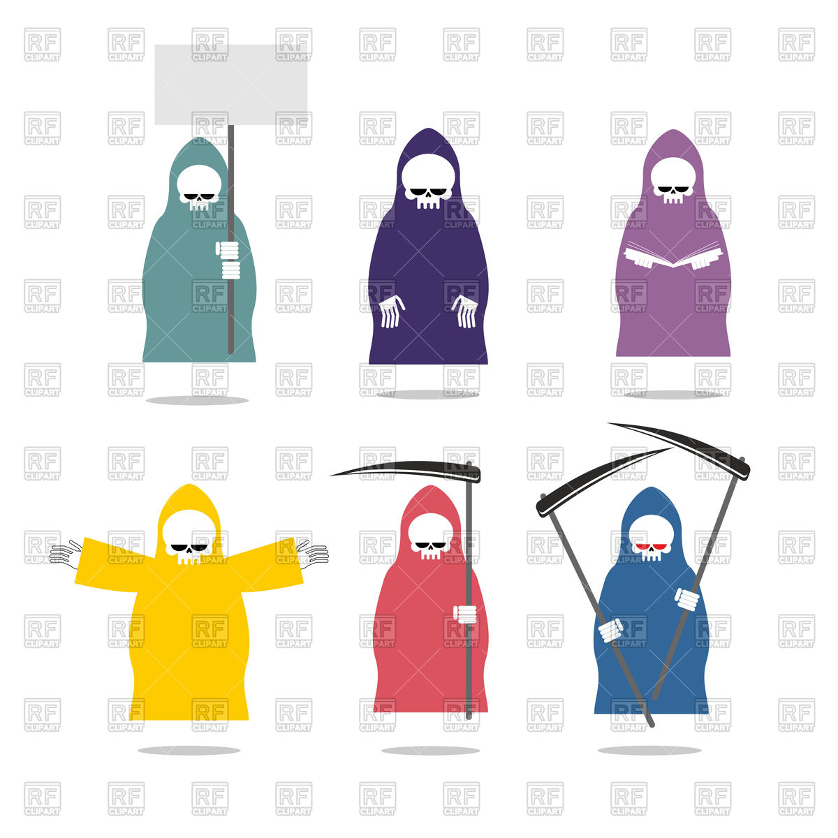 1200x1200 Grim Reaper In Raincoats. Death In Different Positions. Royalty