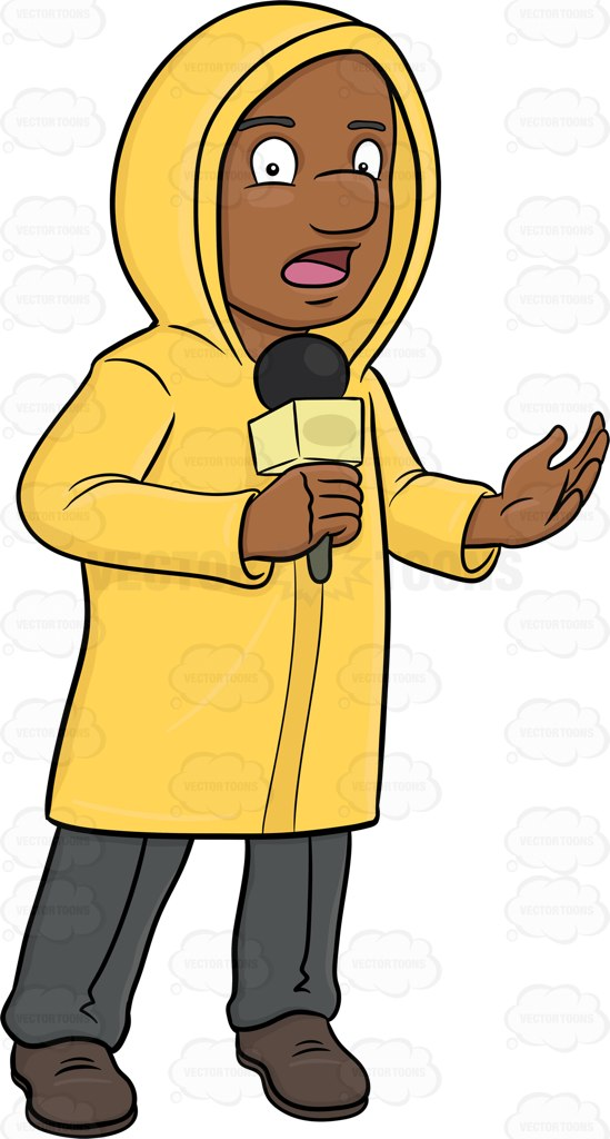 549x1024 A Black Broadcaster In Raincoat Reporting News From The Field