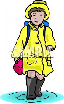 216x350 Royalty Free Clipart Image Girl, Wearing A Rain Slicker, Walking