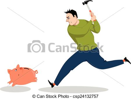 450x342 Rainy Day. Man Running After A Piggy Bank With A Hammer