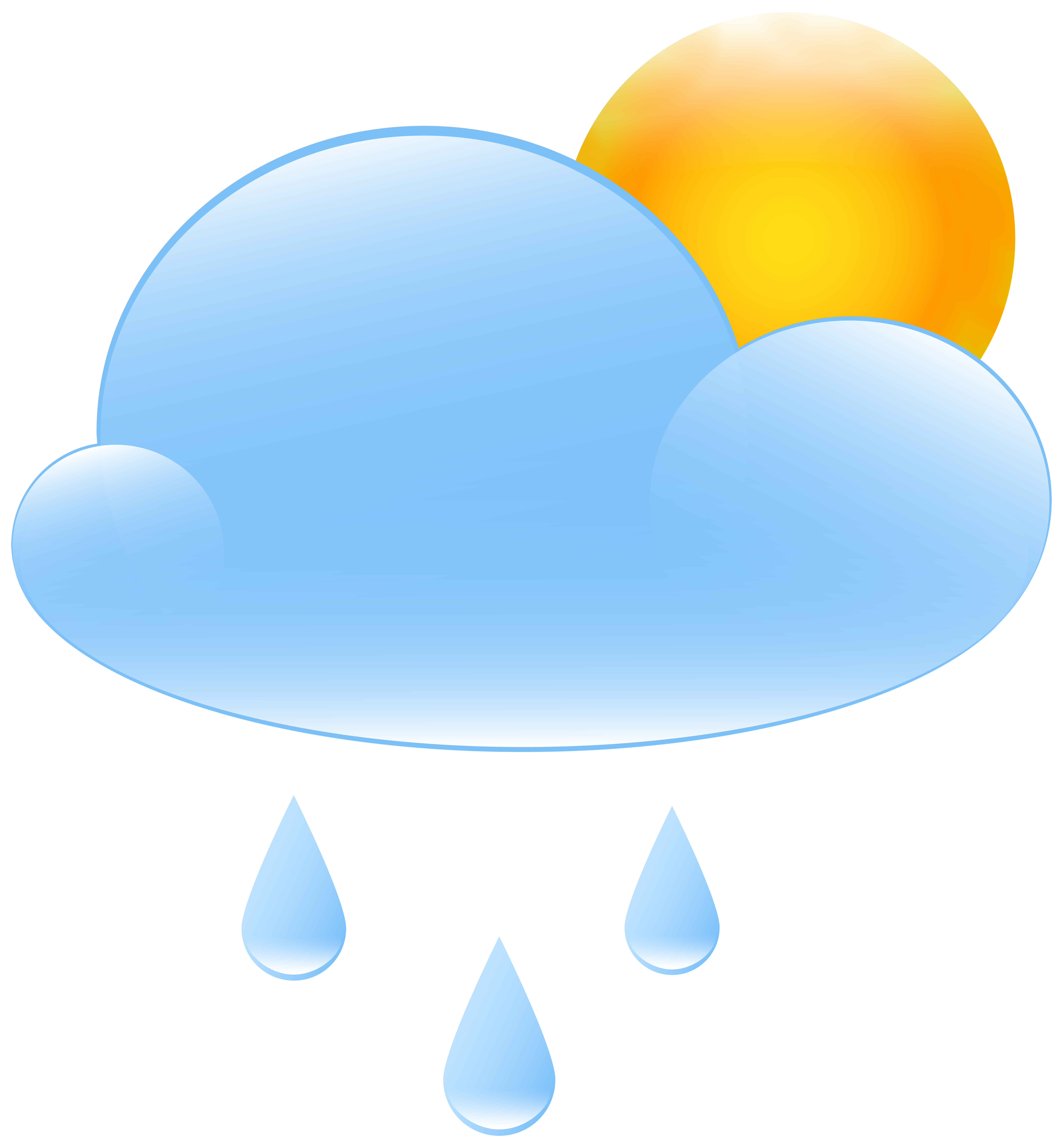 7405x8000 Partly Cloudy With Sun And Rain Weather Icon Png Clip Art