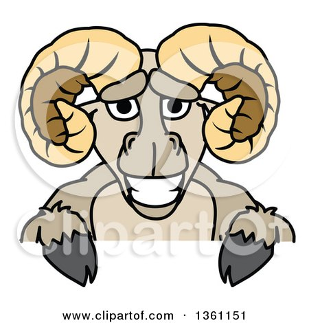 450x470 Clipart Of A Ram School Mascot Character Standing Upright