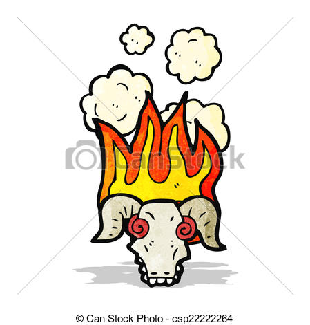 449x470 Flaming Ram Skull Cartoon Clip Art Vector