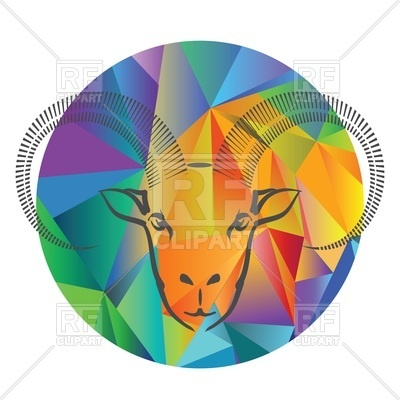 400x400 Head Of Ram On Colorful Polygonal Background In Circle Royalty