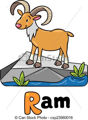 345x470 Little Funny Urial Or Ram, For Abc. Alphabet U. Children Vector