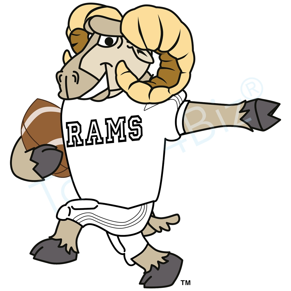 1000x1000 Ram Mascot Playing Football Clip Art Graphic