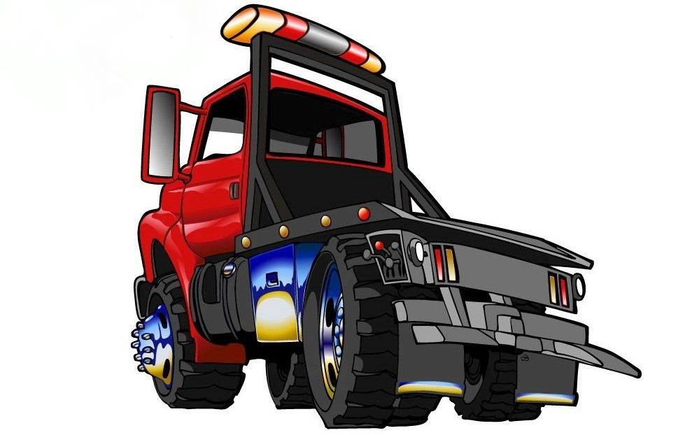 999x622 Cartoon Tow Truck