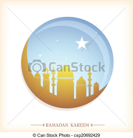 450x470 Ramadan Greeting Card. Islam Mosque With Crescent Moon As
