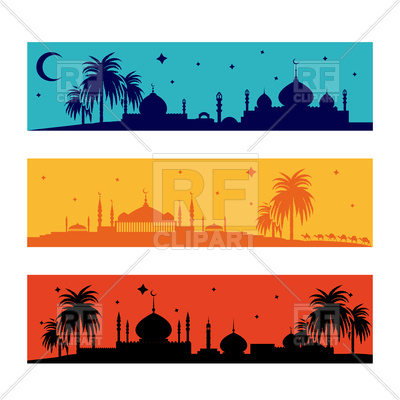 400x400 Set Of Horizontal Ramadan Borders With Palms Mosque And Camels