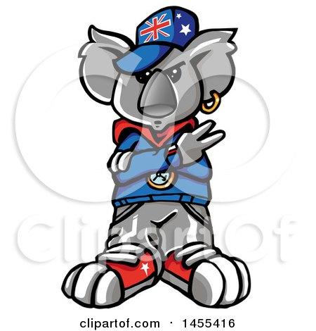 450x470 Clipart Of A Cartoon Koala Rapper Wearing A Union Jack Hat