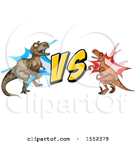 450x470 Clipart Of A Tyrannosaurus Rex Dinosaur Vs A Raptor