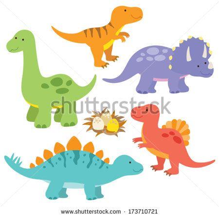 450x445 Vector Illustration Of Dinosaurs Including Stegosaurus