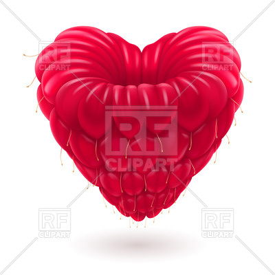 400x400 Fresh Appetizing Raspberry In The Shape Of Heart Royalty Free