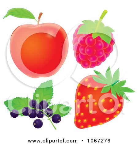 450x470 Clipart Red Apple Raspberry Strawberry And Blueberries