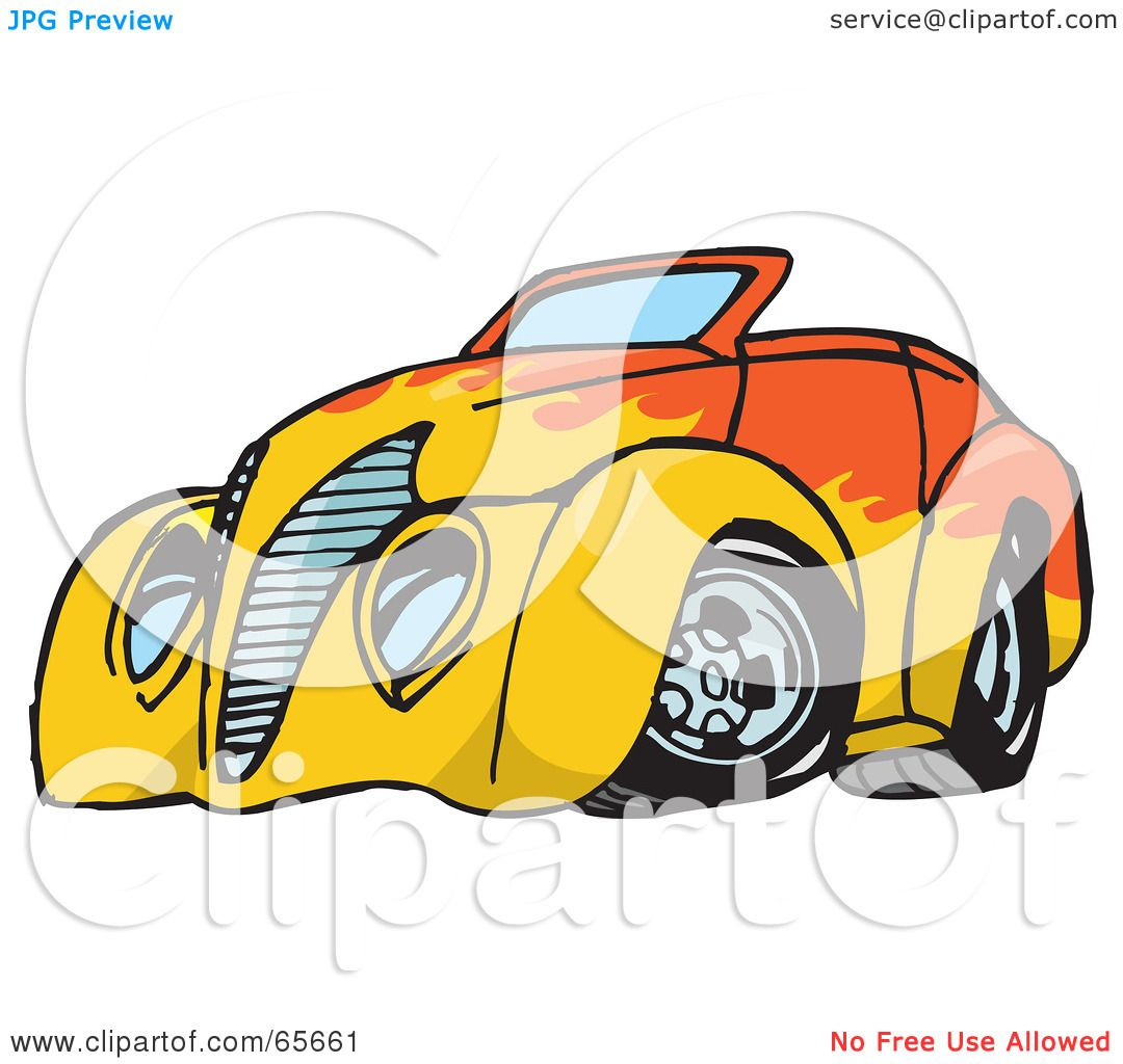 1080x1024 Royalty Free (Rf) Clipart Illustration Of An Orange Convertible