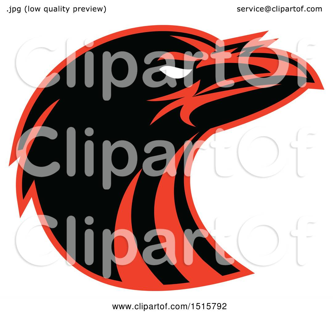 1080x1024 Clipart Of A Black And Red Raven Head In Profile