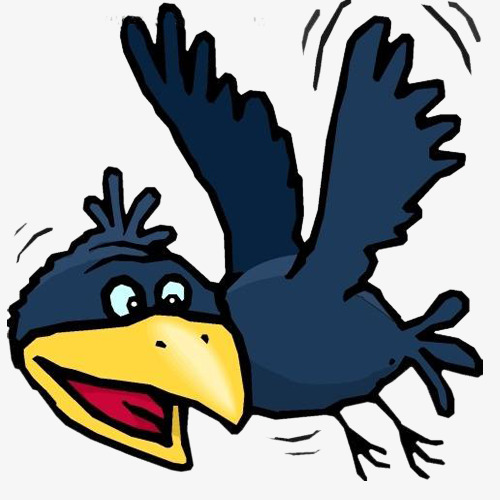 500x500 Raven Wings Fly, Black Crow, Cartoon Crow, Png Free Material Png