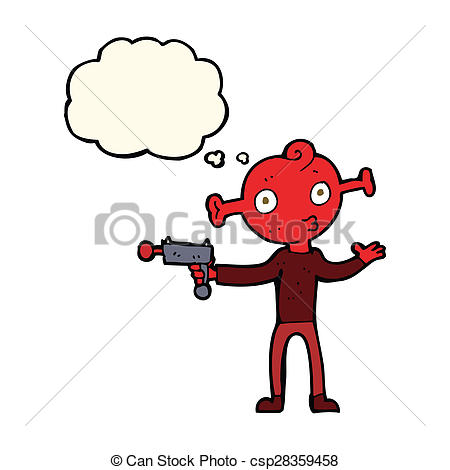 450x470 Cartoon Alien With Ray Gun With Thought Bubble Stock Illustrations