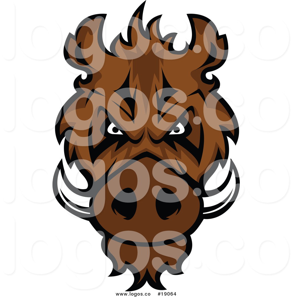 1024x1044 Royalty Free Vector Logo Of An Intimidating Razorback Boar Mascot
