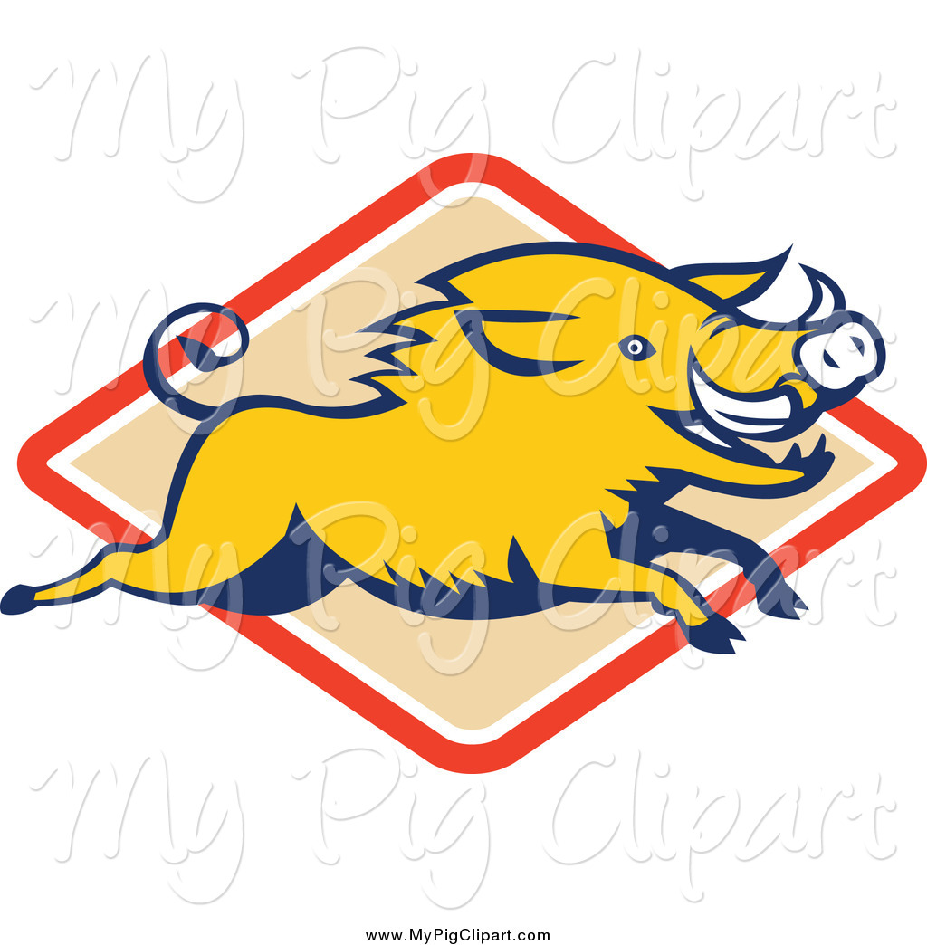 1024x1044 Swine Clipart Of A Yellow Razorback Boar Leaping Over A Diamond By