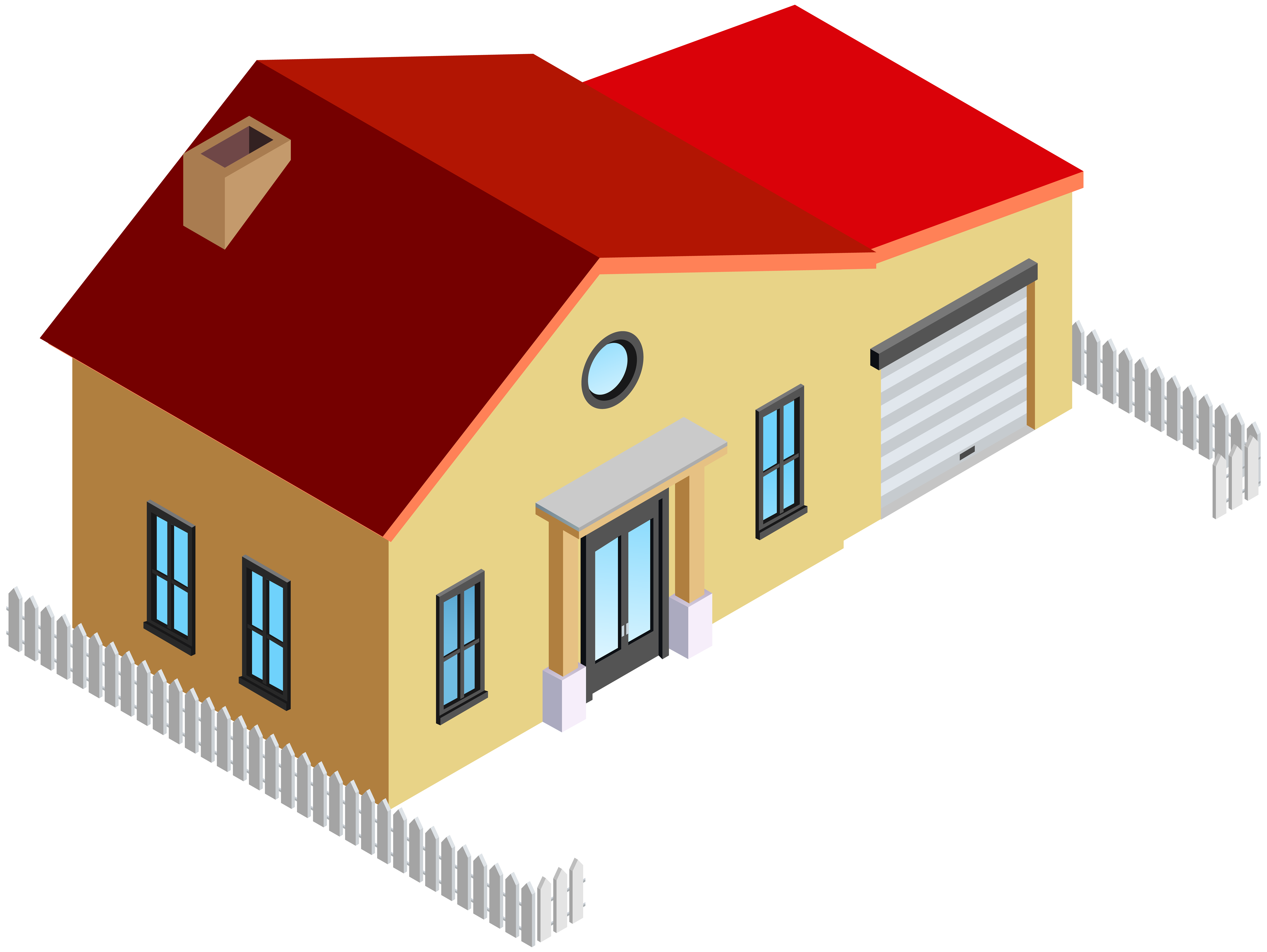 8000x6010 House With Fence Png Clip Art