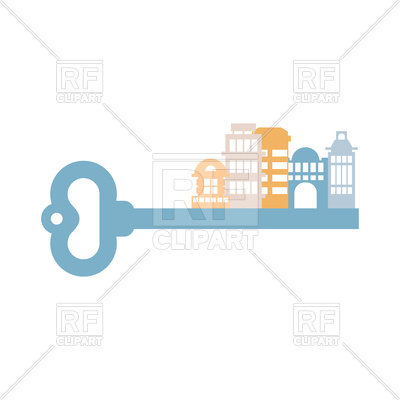 400x400 Key To City. Buildings And Homes. Real Estate Agency Emblem