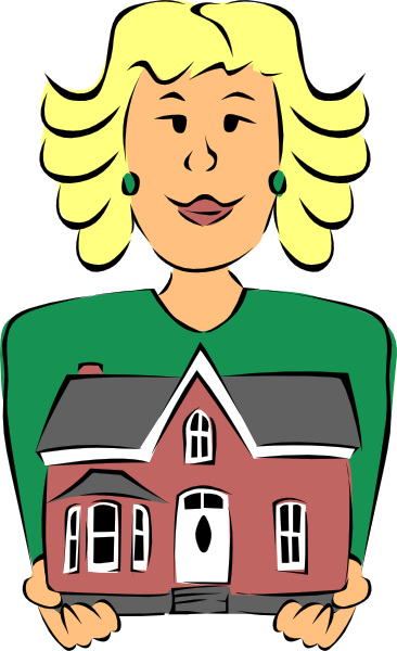 366x600 Real Estate Agent Holding House Clip Art Free Vector 4vector