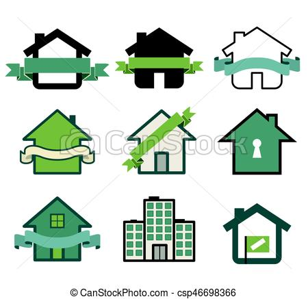 450x437 Real Estate Symbol House Logos Isolated On White Clip Art Vector