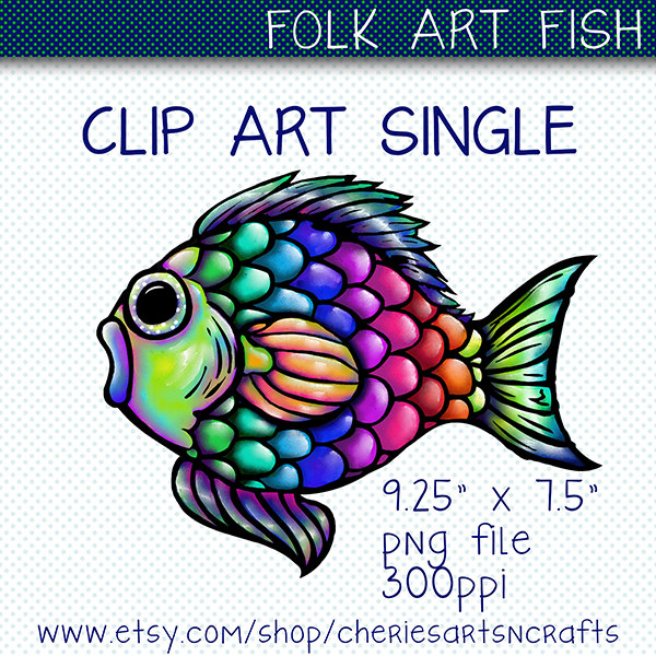 600x600 Clip Art Single Folk Art Fish Clipart, Fish Graphic, Digital Art
