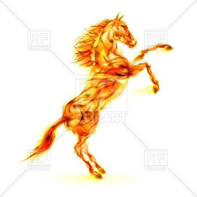 400x400 Fiery Rearing Up Horse Royalty Free Vector Clip Art Image