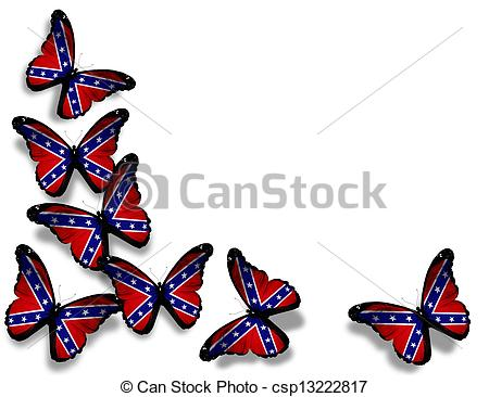 450x366 Confederate Rebel Flag Butterflies, Isolated On White Clipart