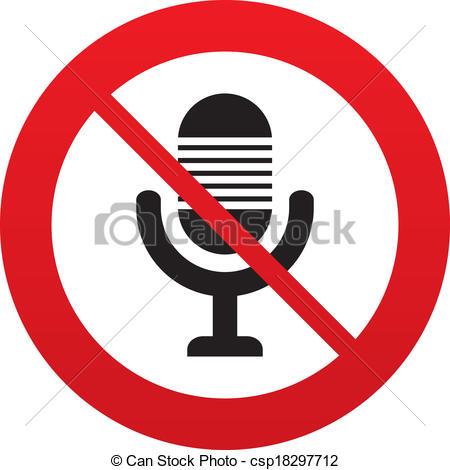 450x470 Don`t Record. Microphone Icon. Speaker Symbol. Live Music