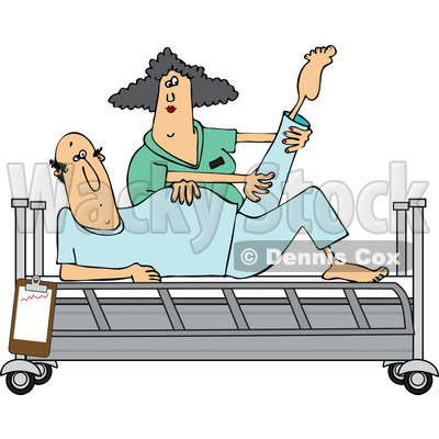 400x400 Clipart Of A White Female Nurse Helping A Caucasian Male Patient