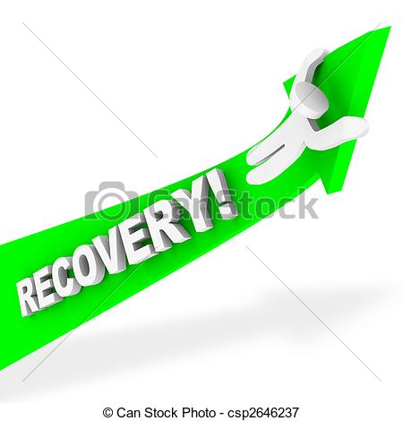 450x470 Riding The Arrow Of Recovery. A Figure Rides A Green Arrow