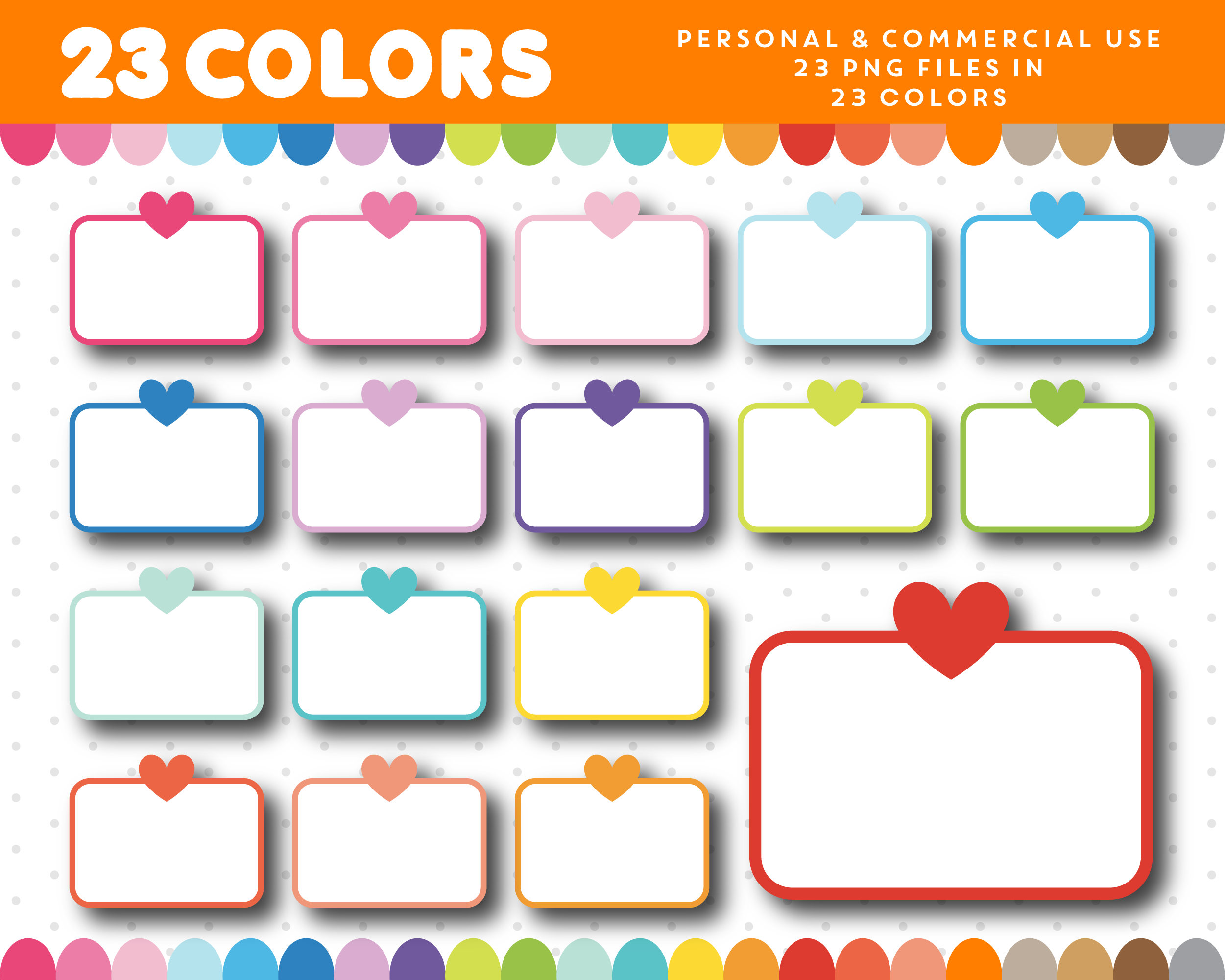 2501x2001 Half Heart Box Clipart, Half Sticker Box Clip Art, Planner Box