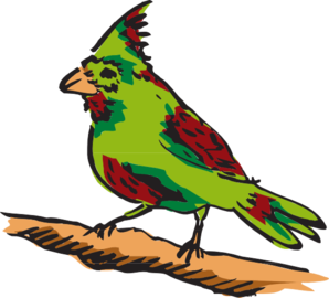 298x270 Green And Red Perched Bird Clip Art