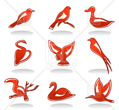 400x369 Set Of Red Birds Icons Royalty Free Vector Clip Art Image