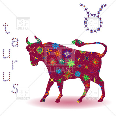 400x400 Taurus Zodiac Sign Made Of Flowers Royalty Free Vector Clip Art