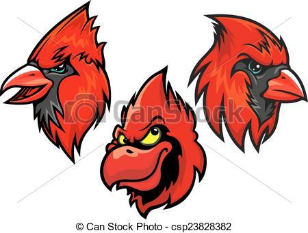 450x341 Cardinal Bird Heads Set. Cartooned Red Cardinal Birds Heads
