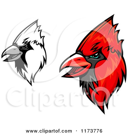 450x470 Clipart Of A Grinning Red Cardinal Mascot Head