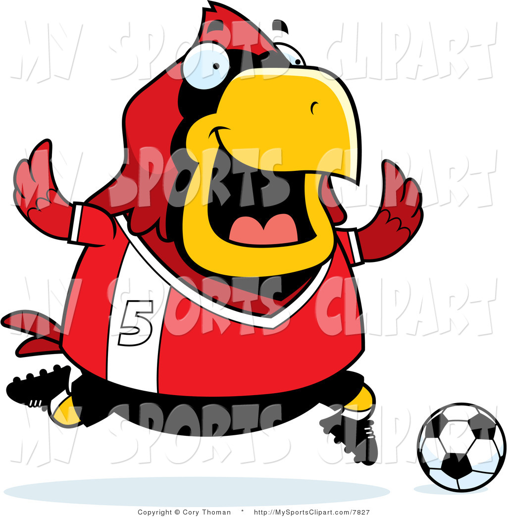 1024x1044 Sports Clip Art Of A Cardinal Playing Soccer In A Red Uniform By