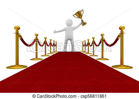 450x320 Red Carpet And Barrier Rope On White Background. Isolated 3d