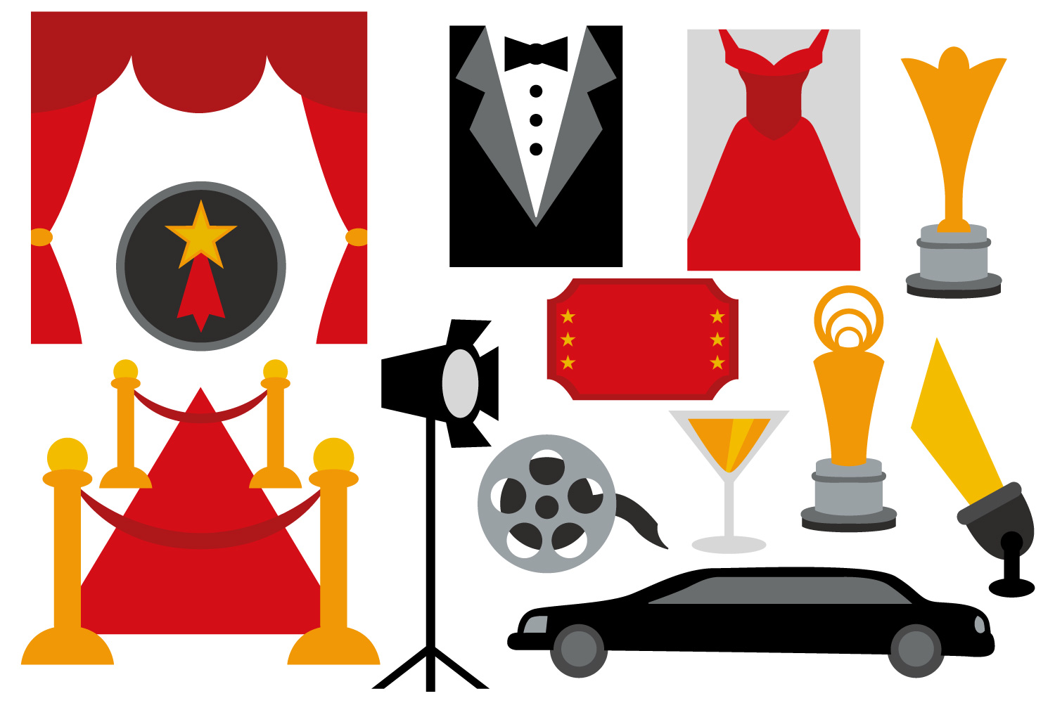 1500x1000 Red Carpet Night Party Clipart Hollyw Design Bundles