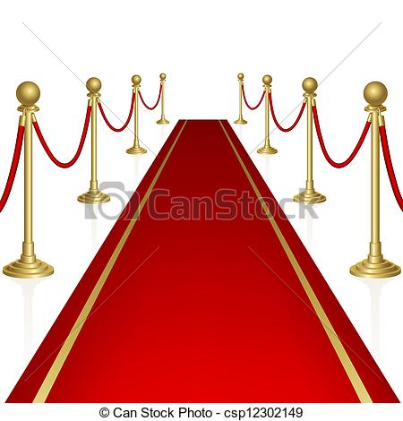 450x470 Red Carpet With Guard. Clipping Mask. Mesh. Eps Vector