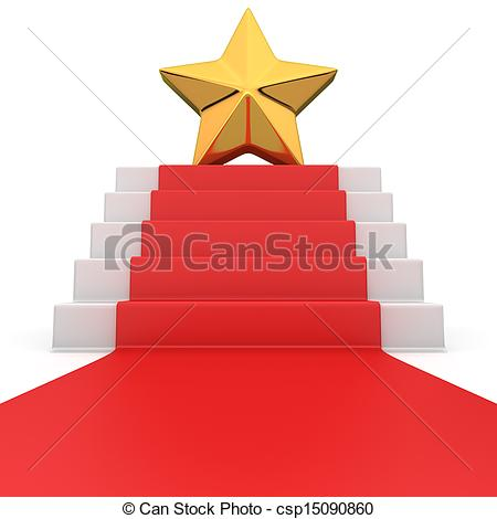 450x470 Star On Red Carpet. Golden Star On The Podium With Red Stock