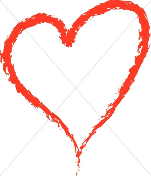 526x612 Red Crayon Heart Valentines Day Clipart