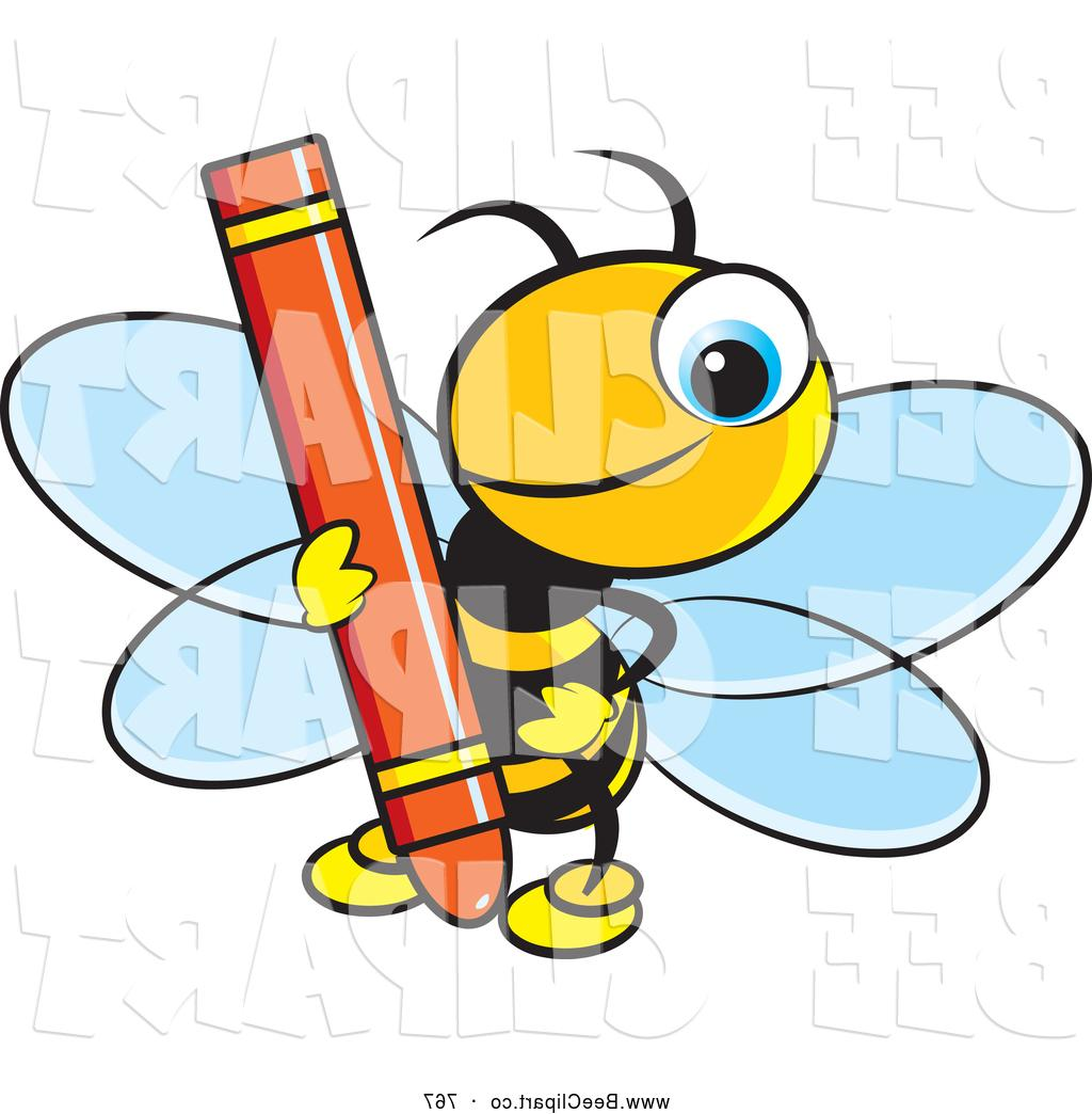 1024x1044 Best 15 Vector Clip Art Of Smiling Cute Bee Holding Red Crayon By