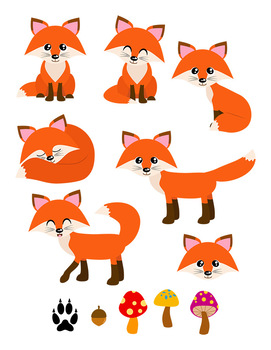 271x350 Red Foxes Clipart, Forest Animals, Cute Fox Clipart, Woodland Clipart