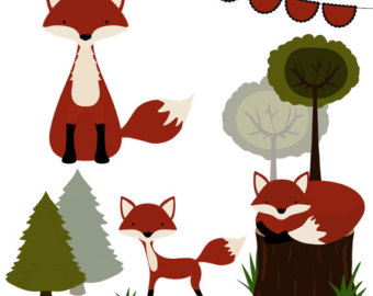 340x270 Watercolor Fox Clipart, Foxes Clipart, Red Fox Clip Art, Forest